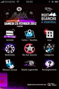 Capture d'écran application Nuit blanche à Montréal