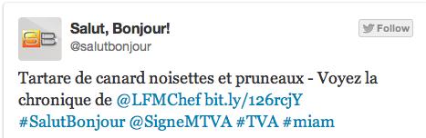 Exemple d'un tweet avec le hashtag sémantique #Miam